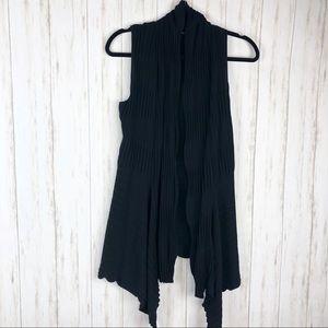 Lafayette 148 waterfall black sleeveless cardigan